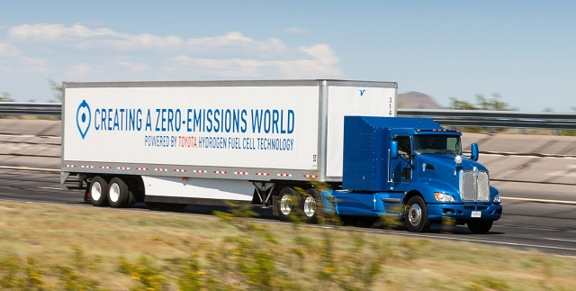 Toyota hydrogen fuel cell-powered semi truck side view