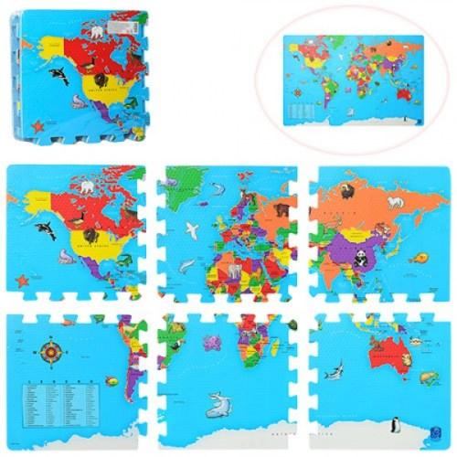 Коврик пазл карта мира