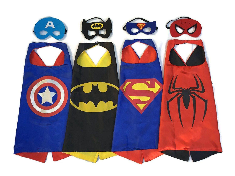 715yd r7l3L. SL1500  - Superhero Dress Up Costumes - 4 Satin Capes and 4 Felt Masks