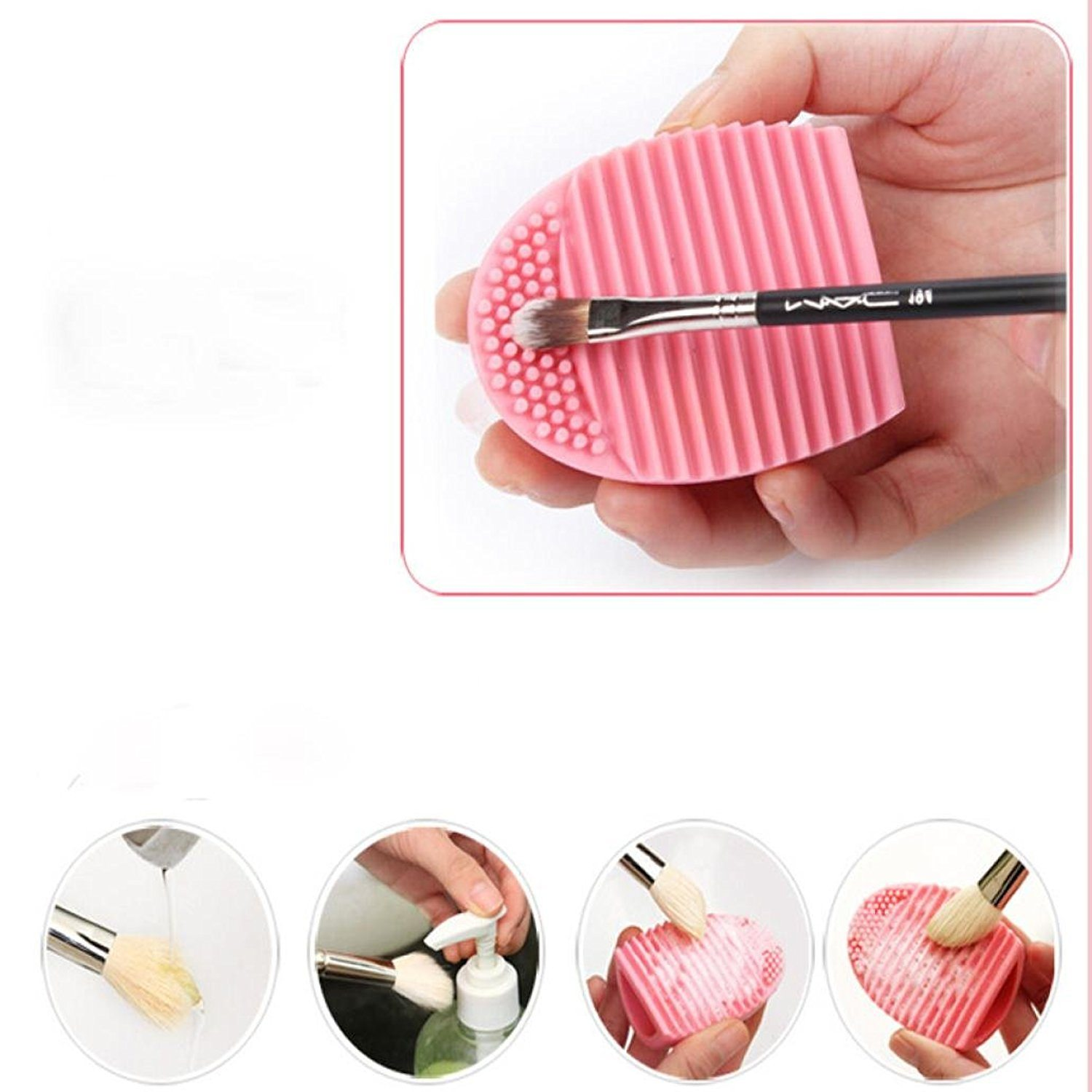 61wN65n63iL. UL1500  - Cleaning MakeUp Washing Brush Silica Glove Scrubber Board Cosmetic Clean Tools (Pink)