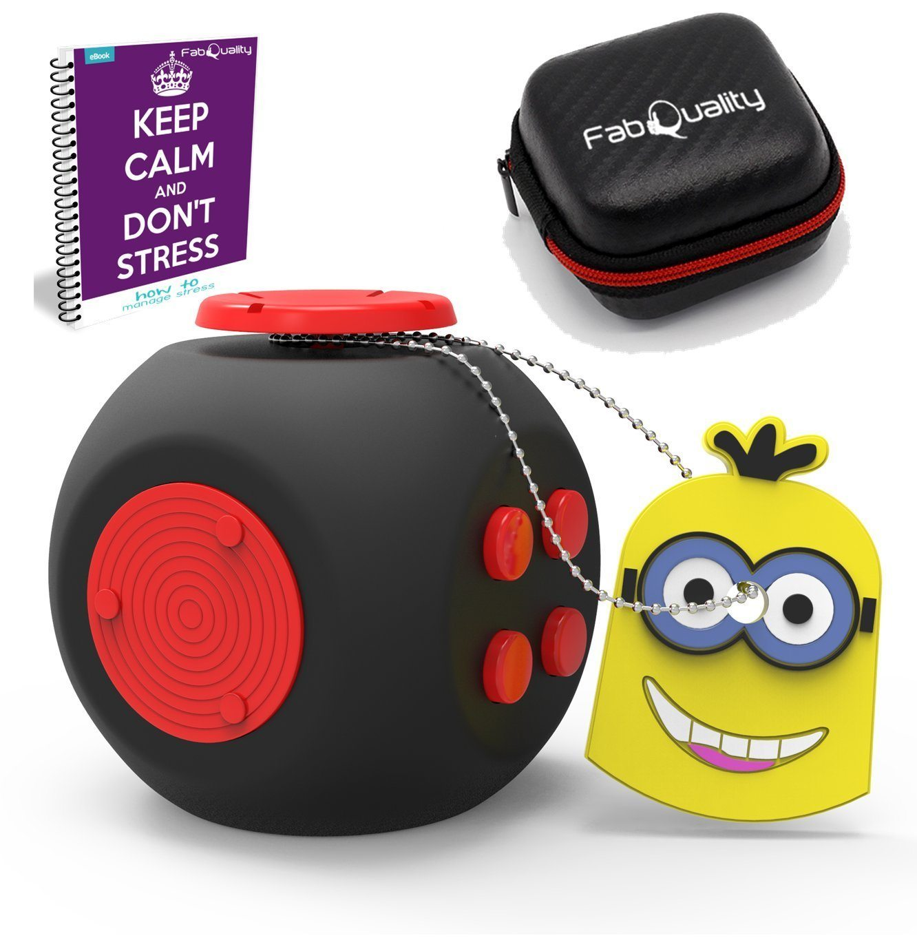 717WMQcNwHL. SL1362  - FabQuality Cube Anxiety Attention Toy With BONUS CASE + eBook Included + Minion Key Chain - Relieves Stress And Anxiety And Relax for Children and Adults BONUS EBOOK is sent by email
