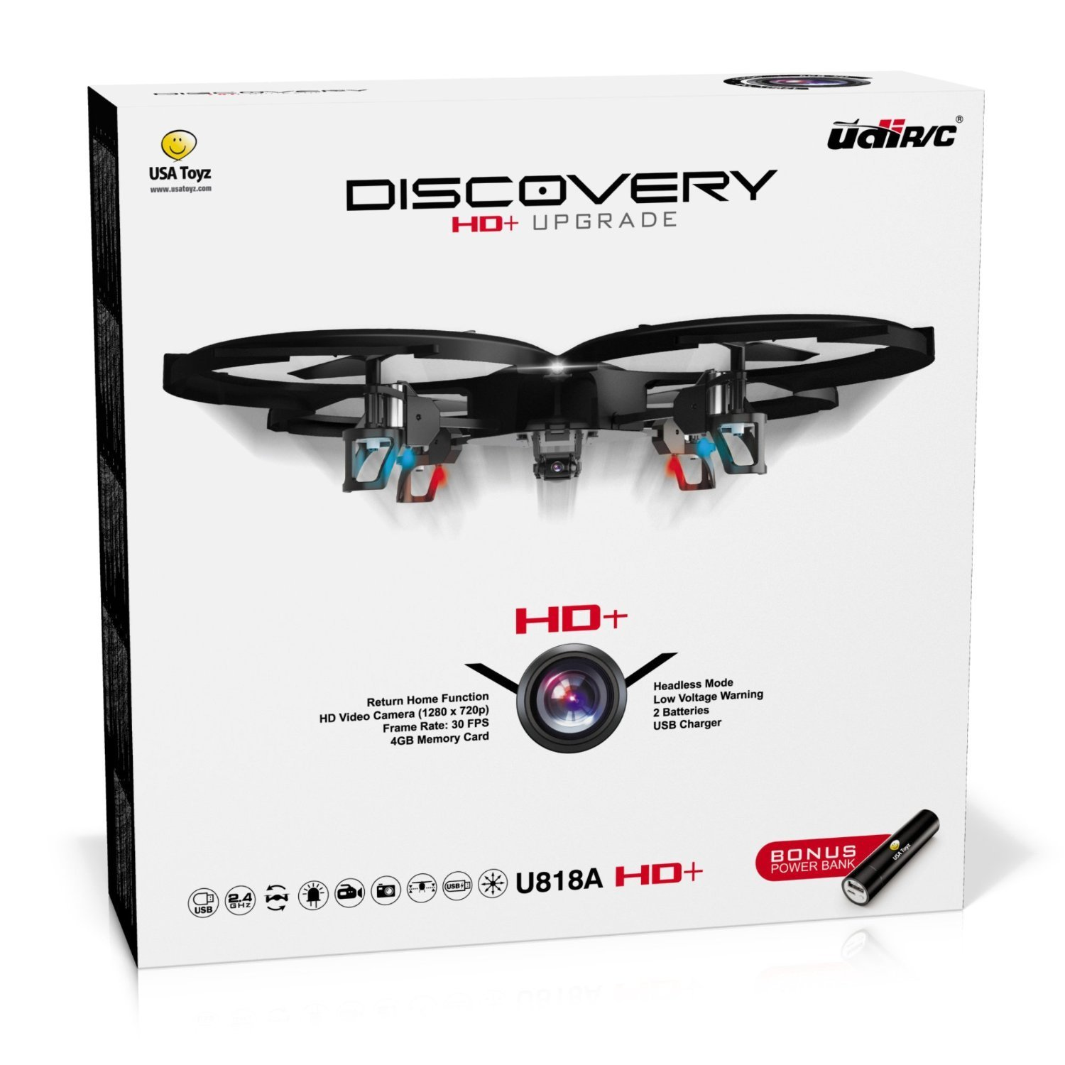 71NqzMbnDZL. SL1500  - *Latest UDI 818A HD+ RC Quadcopter Drone with HD Camera, Return Home Function and Headless Mode* 2.4GHz 4 CH 6 Axis Gyro RTF Includes BONUS BATTERY + POWER BANK (*Quadruples Flying Time*) - USA TOYZ EXCLUSIVE!!