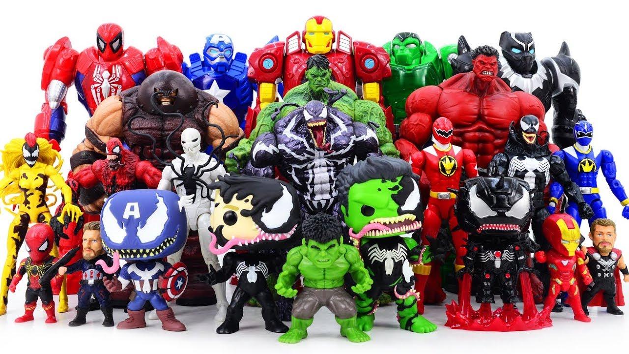 Power Rangers Marvel Avengers Toys Pretened Play Venom Venomized Army vs Super Hero Mech Armors - Power Rangers & Marvel Avengers Toys Pretened Play   Venom Venomized Army vs Super Hero Mech Armors