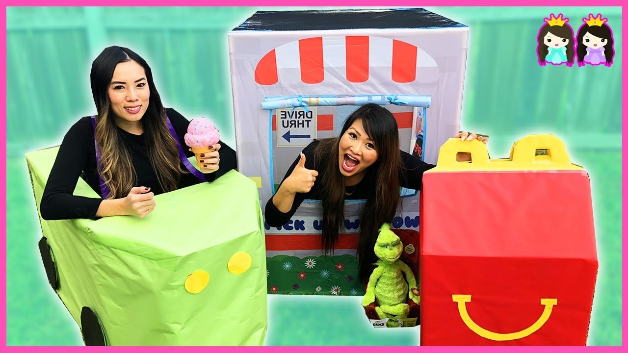 GIANT Happy Meal pretend play drive thru with Dr. Seuss The Grinch Movie Toy Surprises - GIANT Happy Meal pretend play drive thru with Dr. Seuss The Grinch Movie Toy Surprises