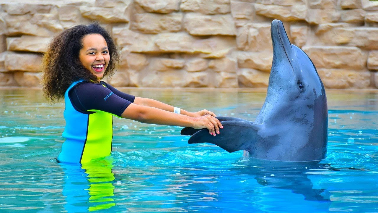 TIANAS SWIMMING WITH DOLPHINS - TIANA'S SWIMMING WITH DOLPHINS!!
