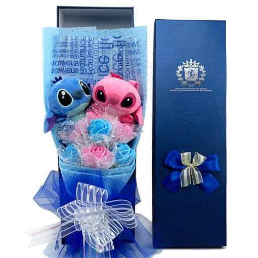 with gift box awaii stitch plush toys cartoon bouquet variants
