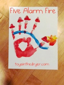 five alarm fire, handprint crafts