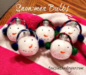 snowmen bulbs, snowmen decorations, snowman decor, snowmen crafts