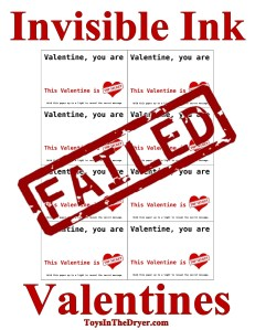 Invisible Ink Valentine Failure