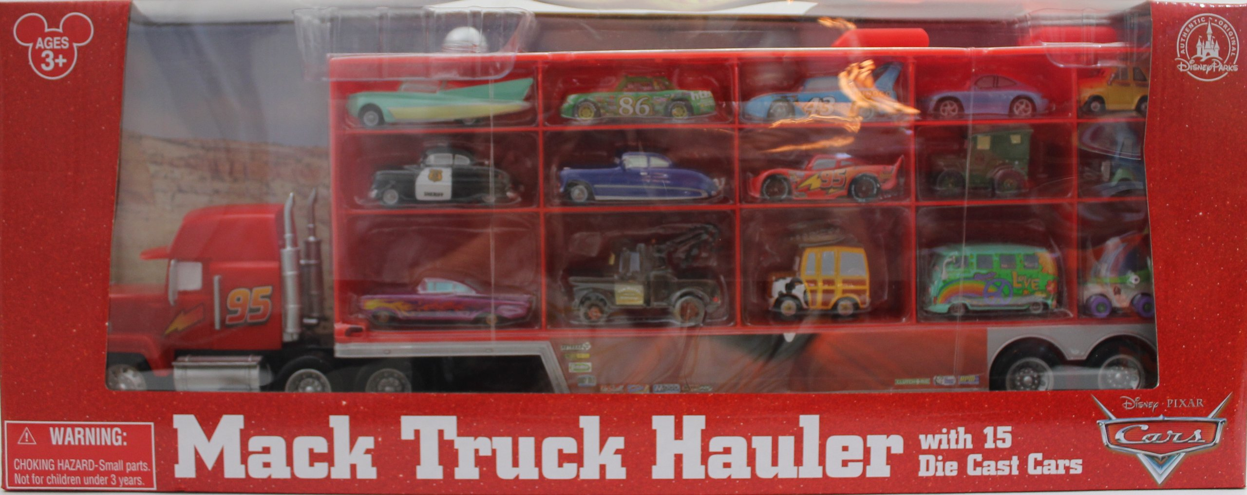 Disney Pixar Cars Mack Truck Hauler Carrying Case 15 Die Cast Character Cars 2012 Edition Disney Theme Parks Exclusive Limited Availability Item Toysplus