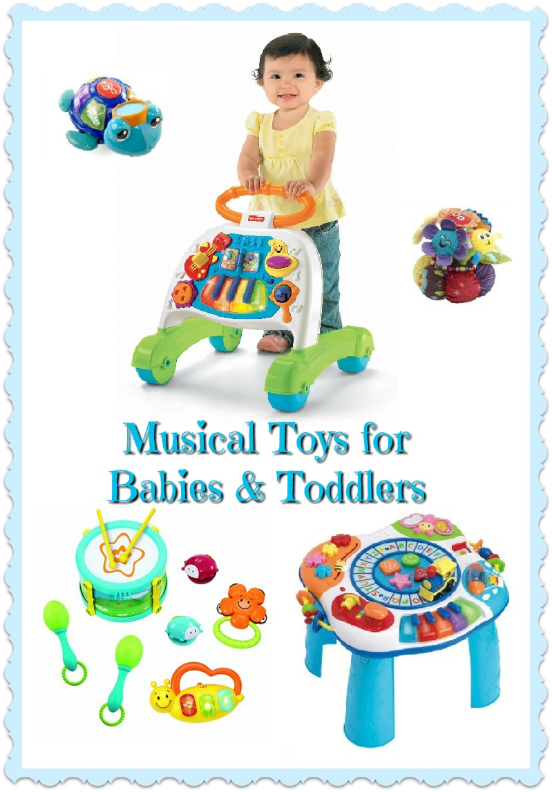 Musical Toys for Toddlers and Babies: Musical Learning Toys - Musical Instruments for Toddlers - Musical Walkers & Tables - Musical Plushes. All to squeeze, squeak, clatter, bang, ping and learn
