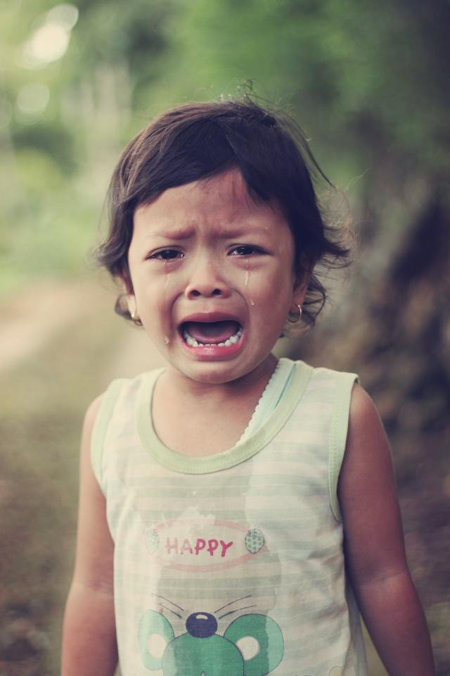 Young child crying. Separation anxiety shows a step in development. Reassurance is needed at this point.