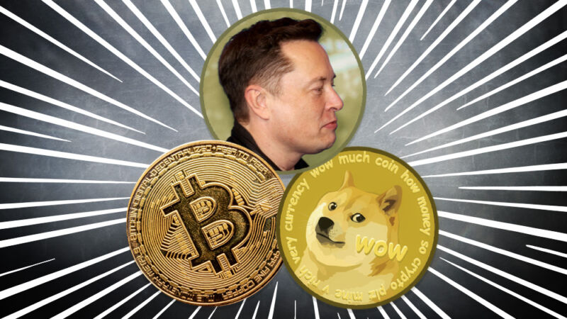 Elon Musk with symbols referencing Bitcoin and Dogecoin