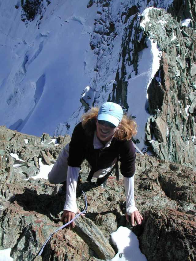 Germaine climbing in Alps