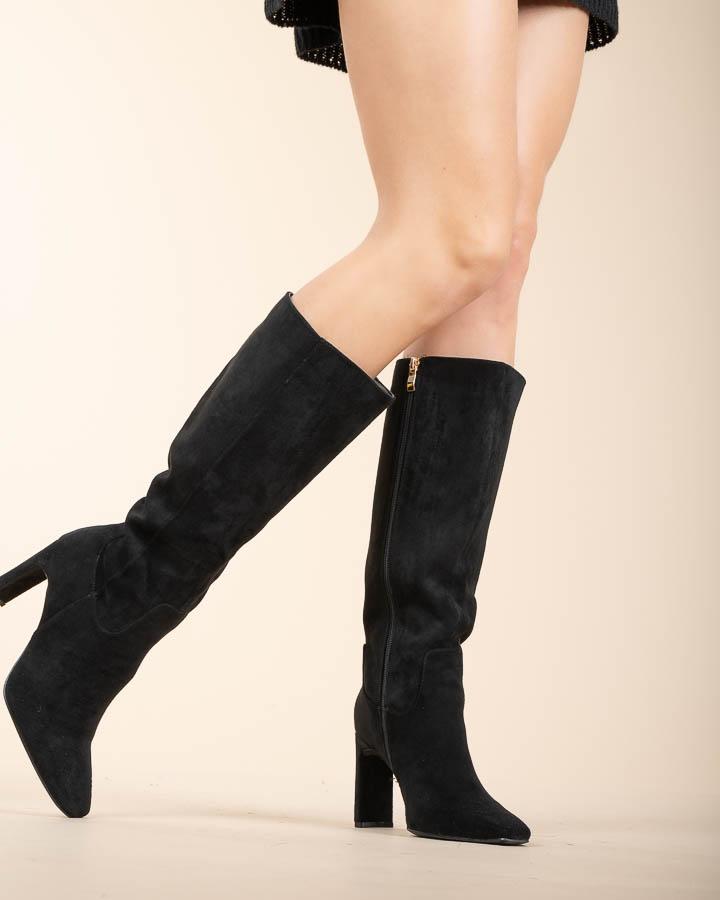 Bottes hautes pour femme en suédine noire