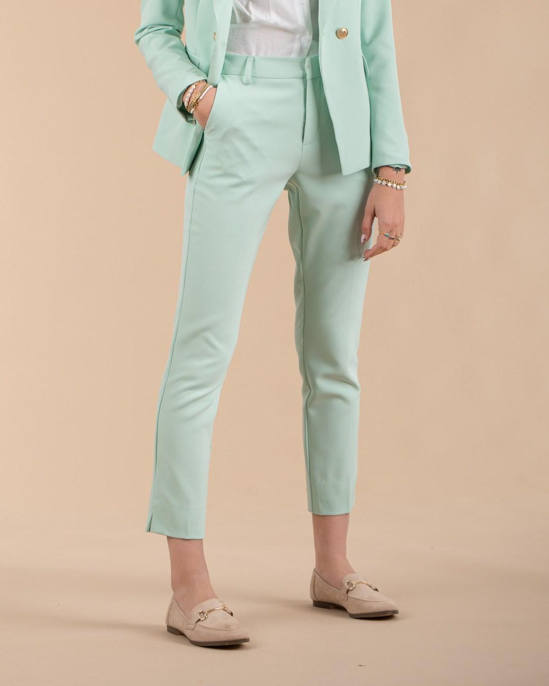 Pantalon taille haute en pastel