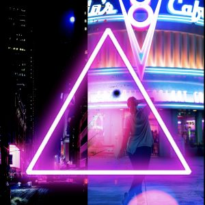 Woman in a neon triangle