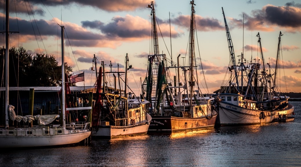 Sunset Shrimp Boats - Click To Enlarge