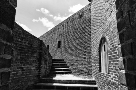 Brick Fortress In Black And White