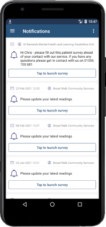 Image of phone showing the Airmid Notifications screen