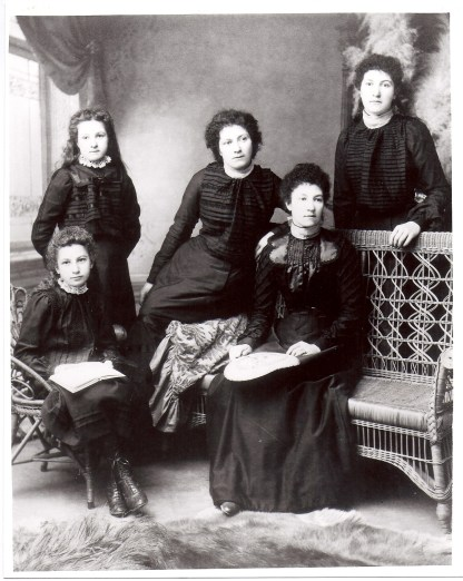The Allsopp Women - Left to Right: Mabel Alice, Ada Ellen, Rhoda Margaret, Sophia Eliza and Lucy Elizabeth