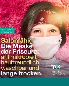 Die Maske der Friseure: antimikrobiell, hautfreundlich, waschbar und lange trocken.
