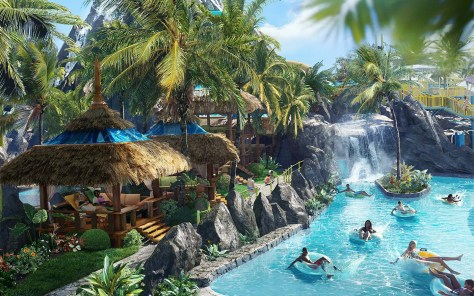 First-ever details revealed for Universal's Volcano Bay, including Kopiko Wai Winding River - a gentle, winding river that passes through the volcano's hidden caves, featuring spontaneous water effects and special nighttime lighting.