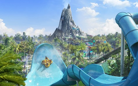 First-ever details revealed for Universal's Volcano Bay, including Honu - an adventurous, multi-passenger raft ride that will soar across two giant, sloped walls.
