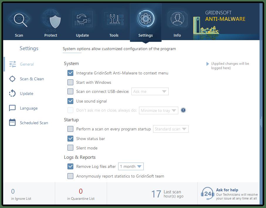 Settings in GridinSoft Anti-Malware