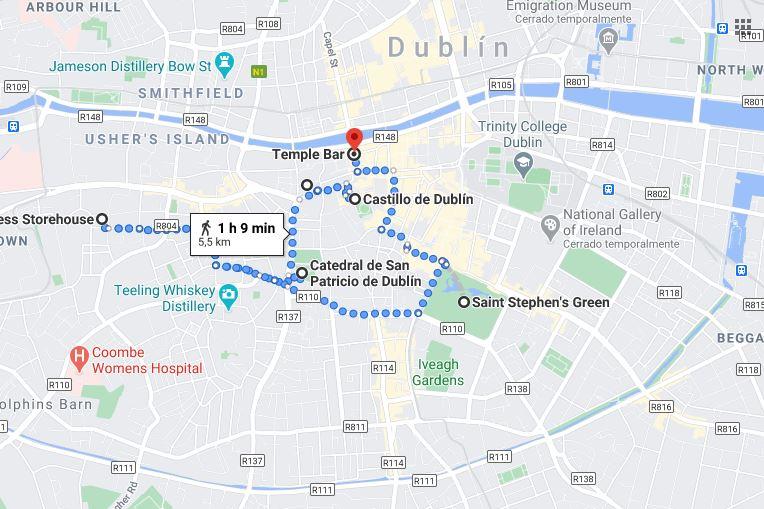 Mapa Dublín