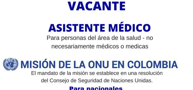 Vacante en la Misión de verificación la ONU en Colombia para personal del área de la salud