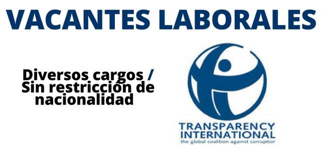 Vacantes a nivel mundial con Transparencia Internacional
