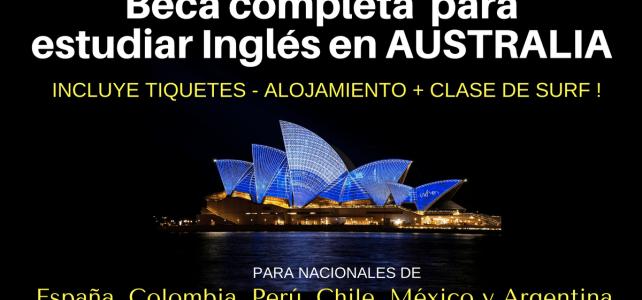 Beca para estudiar Inglés para nacionales de España, Colombia, Perú, Chile, México y Argentina. Incluye tiquetes ida y vuelta a Australia !