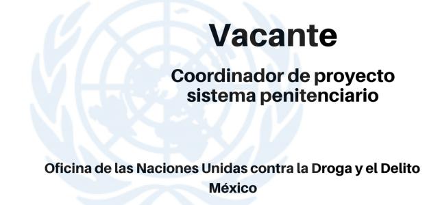 Vacante Coordinador de proyecto – sistema penitenciario UNODC