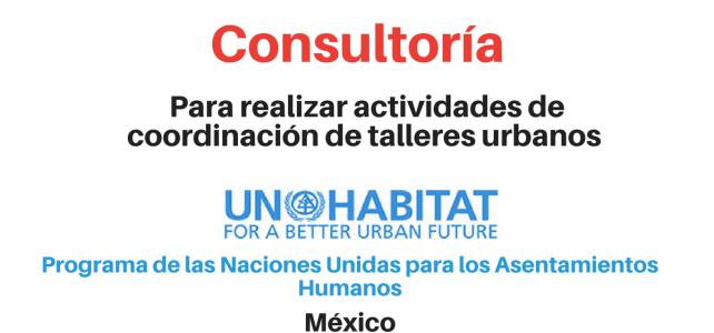 Consultoría para realizar actividades de coordinador de talleres urbanos ONU Habitat