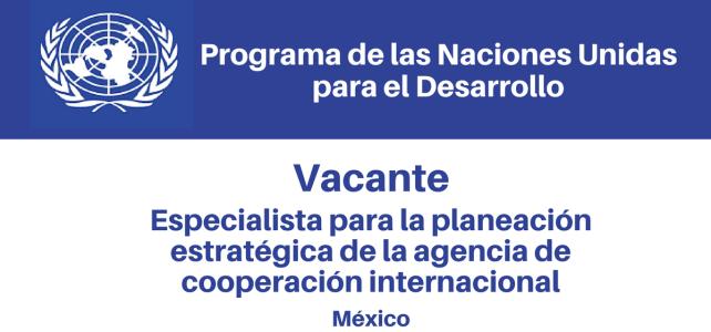 Vacante Especialista para la planeación estratégica de la agencia de cooperación internacional para el desarrollo – AMEXCID/PNUD