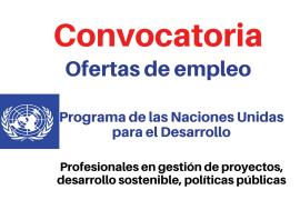 PNUD convoca profesionales en gestión de proyectos