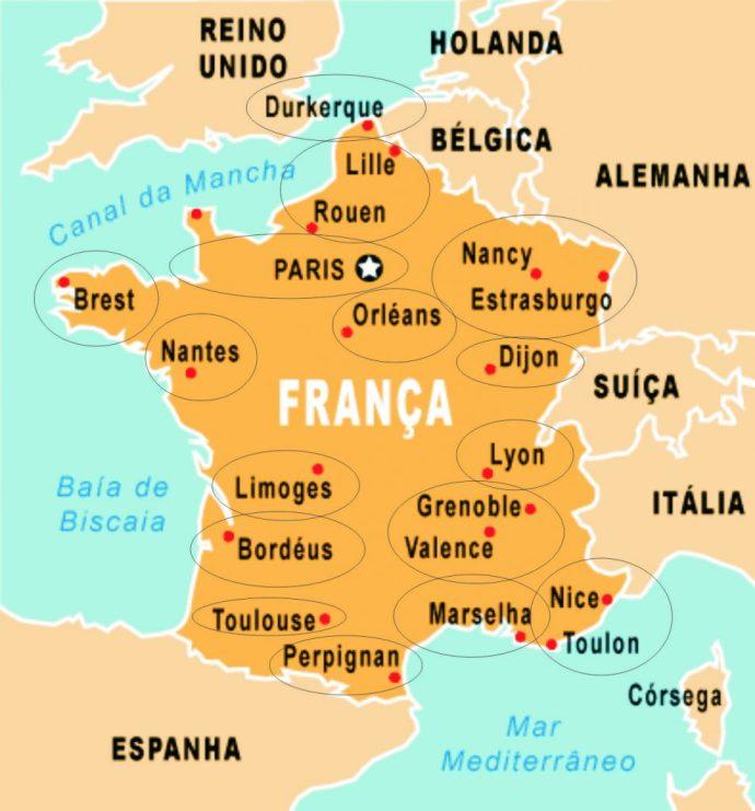 mapa da frança → Mapa da França Cidades: Conheça as Regiões da França  mapa da frança
