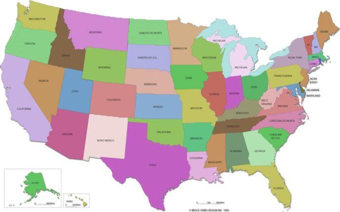 mapa eua → Mapa dos Estados Unidos, seus Estados e suas Cidades + Famosas mapa eua