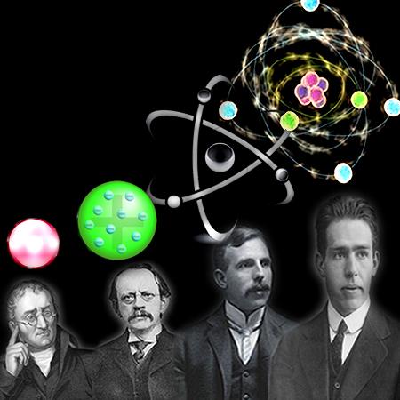 A evolução do modelo atômico contou com a contribuição de quatro cientistas principais: Dalton, Thomson, Rutherford e Bohr