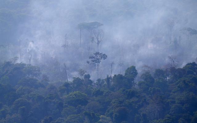 Incêndio na Amazônia em região próxima a Porto Velho, em Rondônia