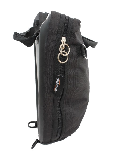 Side view of the Trabasack Curve lap tray bag