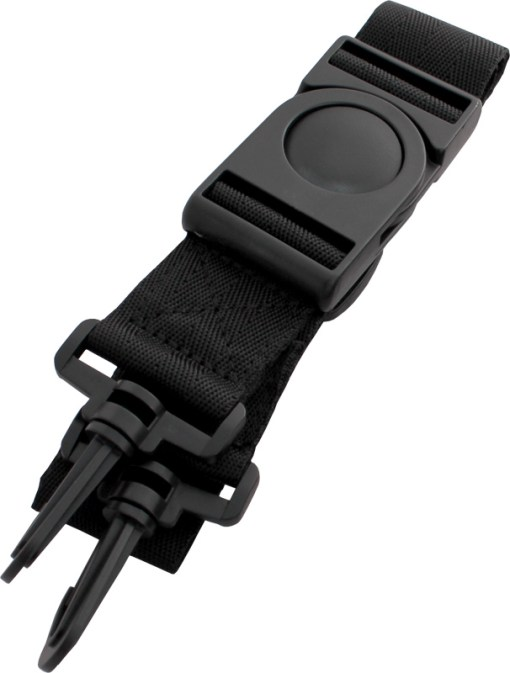 Image of the long straps for the Trabasack lap desk bag, folded - showing button buckle detail