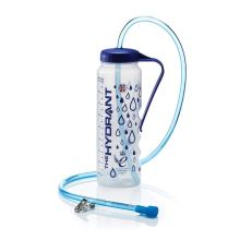 Image is a photograph of the Hydrant drinks bottle, decorated with blue water drop pattern, with a drinks tube on a white background