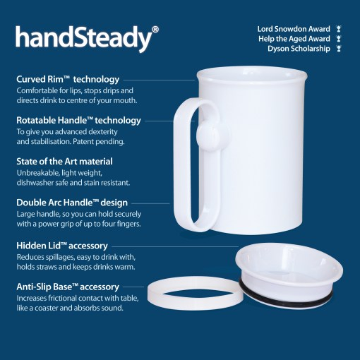 Image shows blue background, with white handSteady mug with text illustrating key points