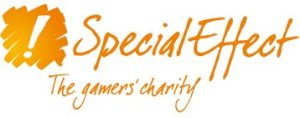 "Special Effect charity logo features an exclamation mark and the words ""Special Effect the gamers charity"" in orange text"