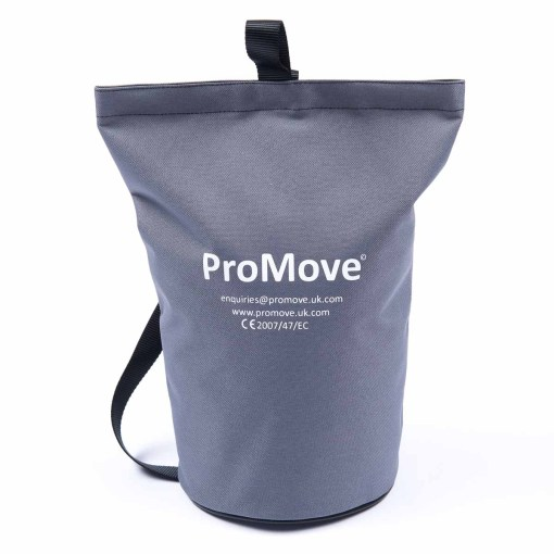 "Image shows the ProMove Carry Bag in grey, stood upright on a white background. White printed text on the bag reads: ""ProMove. Enquiries@promove.uk.com. www.promove.uk.com. CE 2007/47/EC"""