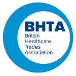 "Image shows the BHTA logo - a circle encompassing the words ""BHTA"" in dark blue, followed by text which reads ""British Healthcare Trades Association"""