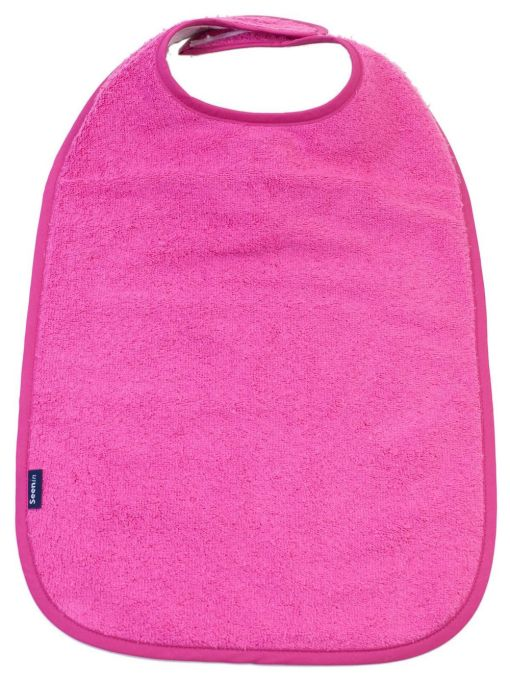 Image shows a photograph of the Seenin Children's Cotton Towelling Bib in Cerise Pink with a white background