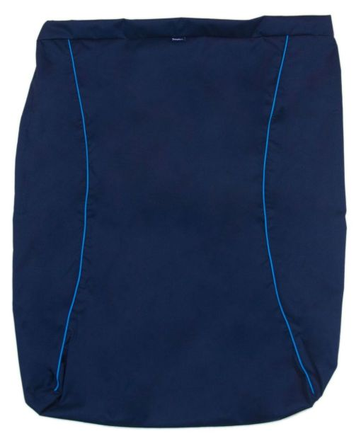 Image is a photograph of the Seenin waterproof leg cover in navy blue colour, lay flat on a white background